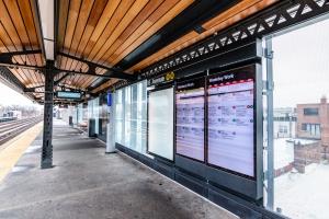 Astoria station outside info boards